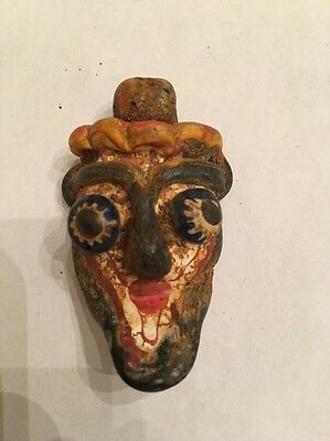 "Ancient Mosaic Art Glass Phoenician Blue ""Flaming Eyed"" Face/Head Pendant"