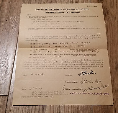 1948 British Army Form X204 release to reserve on grounds of national importance