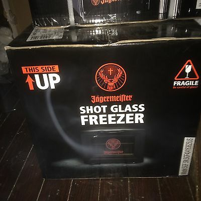 Brand new: Jagermeister Shot Glass Freezer / bar mat / and 36 jager shot glasses