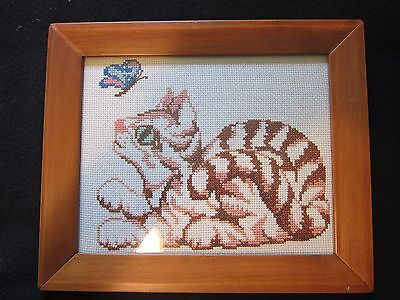 Framed Kitten Cat Butterfly Completed Cross Stitch Needlework Embroidery 10 x 12