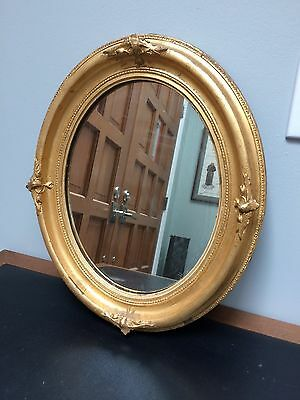 """Vtg 15.5"""" by 18.5"""" Gold Gilt & Gesso Oval Wooden Mirror"""