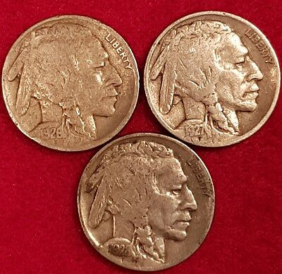 Lot Of Buffalo Nickels 1926, 1927 and 1928  ID  #18X
