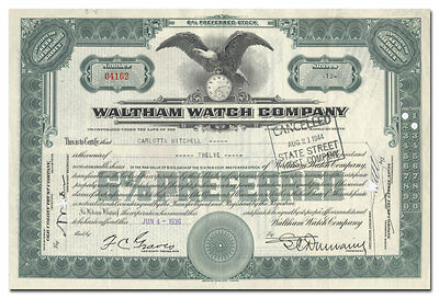 Waltham Watch Company Stock Certificate (Issued!)
