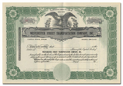 Westchester Street Transportation Company, Inc. Stock Certificate