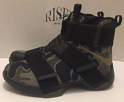 7e6703a5d0f Nike Lebron Soldier 10 SFG Basketball Black Bamboo Camo 844378-022 Men s  NEW DS