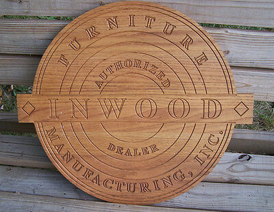 Solid Oak INWOOD FURNITURE MANUFACTURING Authorized Dealer Sign