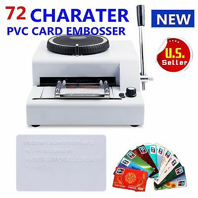 New 72 Letter Character Manual Embosser Machine PVC Card Credit ID VIP Stamping
