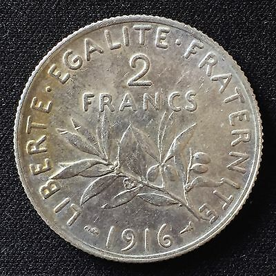 1916 France Two Francs Silver Coin