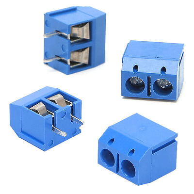 5mm PCB Mount Terminal Block Connector 2-Pin 2 way Screw Pitch Panel 100Pcs