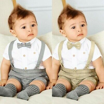 Summer Baby Boys Wedding Formal Suit Bowtie Gentleman Romper Outfits Brown/Gray