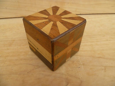 Vintage Old Very Nice World Flag, Timber Inlaid Trick Box, (396)