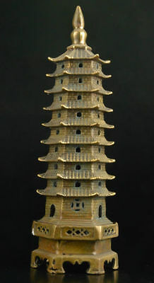Superb china COLLECTABLE OLD DECORATION bronze STATUE casting leifeng pagoda