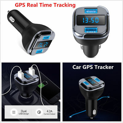 Car GPS Real Time Tracker Locator 4.2A Dual USB Car Charger LED Voltage Detector