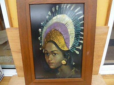 VINTAGE OLD LARGE SIZE AFRICAN LADY PICTURE '640Z470mm' (A920)
