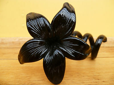 Vintage Old Very Nice Italy Glass Flower Napkin Holder