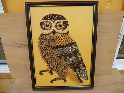 Old Very Cool Retro Australian Owl, Made From Noodles, Nut Shells, Etc