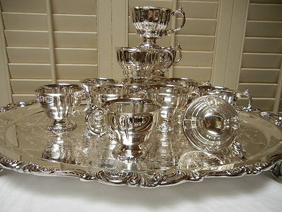 TEN  Wallace Baroque Silverplate footed fluted Punch Cups  MINT! USA! Free Ship!