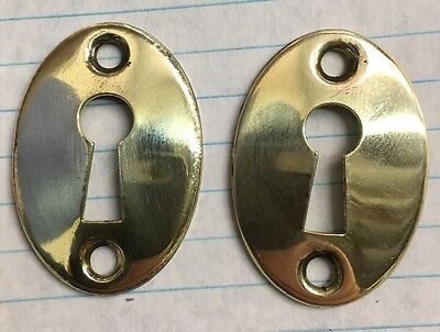2 Oval Keyhole Door Chest Lock Escutcheon Plate Old Skeleton Key Brass Vintage