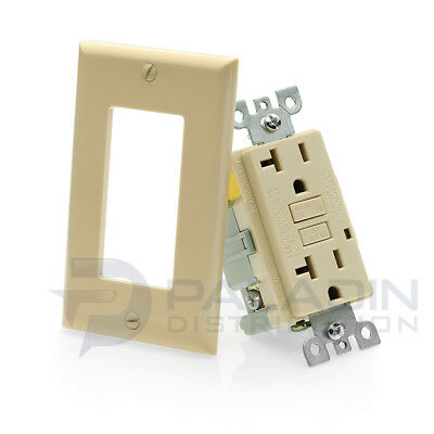20A GFCI Receptacle Outlet w/ LED & Wallplate UL Listed - Ivory 20 Amp [1 pc]
