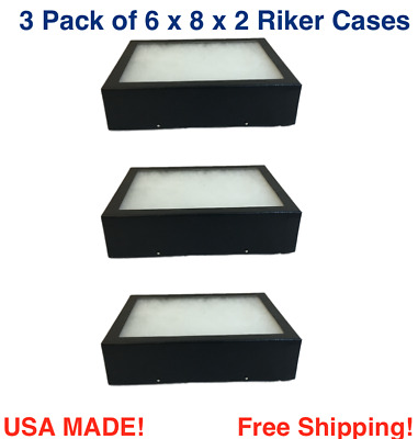 3 Pack of Riker Display Cases  6 x 8 x 2 for Collectibles, Arrowheads & More