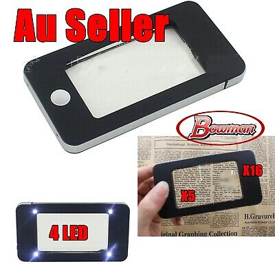 5X 16X 2-Lens with 4 LED Lights Pocket Reading Magnifier Loupe Magnifying Glass