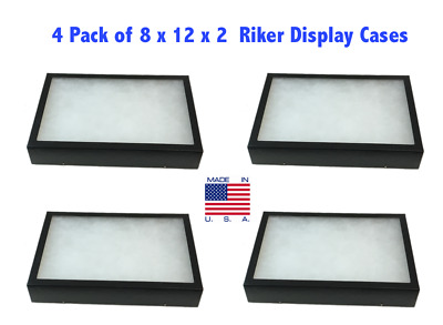 4 Pack of Riker Display Cases 8 x 12 x 2 for Collectibles Arrowheads & More
