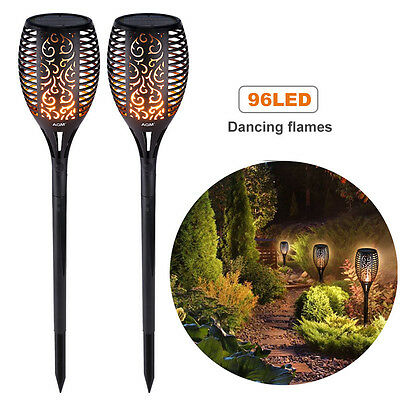 2x Solar Powered Flame Torch Light LED Flickering Garden Party Outdoor Lamp Gift