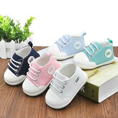 Infant Toddler Baby Boys Girls Solid Shoes Prewalkers Sports Anti-slip Sneakers