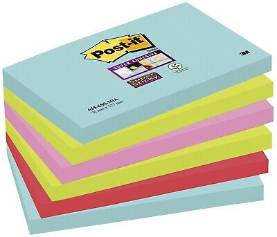 Post-it® SuperSticky Haftnotiz Z-Notes Miami Collection - 127x76mm, 6 x 90 Bl.
