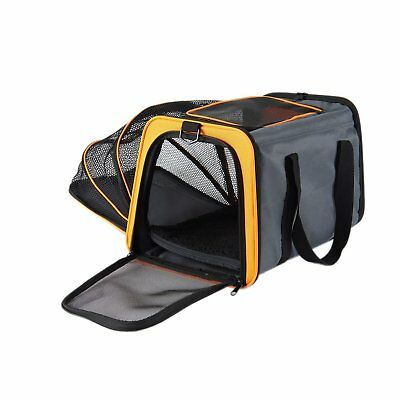 Expandable Folding Pet Travel Car Carrier Cat Dog Bag+Removable Mat&Should Strap