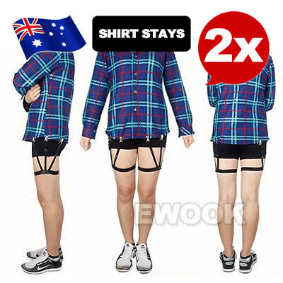 2in1 Men Shirt Stays Holder Elastic Garters Uniform with Non-slip Locking Clamps