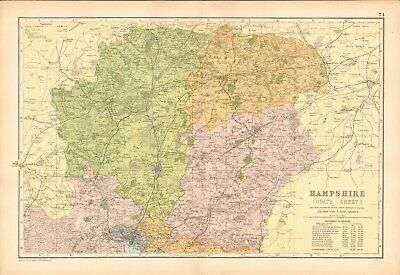 1906 Large Map-Bacon  - Hampshire, North, Winchester, Basingstoke, Andover