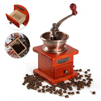 Vintage Wooden Mill Manual Coffee Bean Grinder Grinding Hand Tool