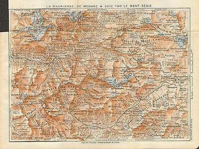 1923  Vintage Map-Alps- La Maurienne, From Modane To Suse Via Mont-Cenis
