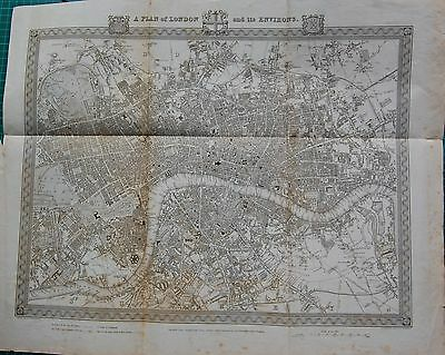 1840 Antique Map- A Plan Of London And Its Environs Creighton/walker