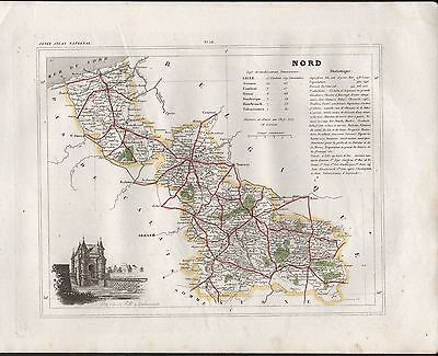 1841 Antique Map Monin France H/col - Departments, Nord Lille Avesnes Douai