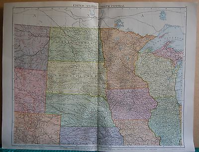 1919 Large Map- United States, North Central