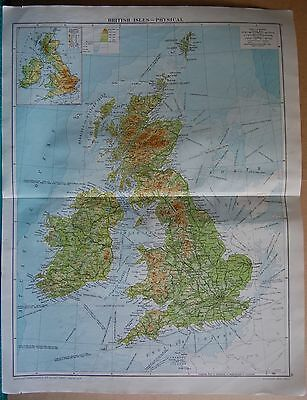 1919 Large Map- British Isles, Physical