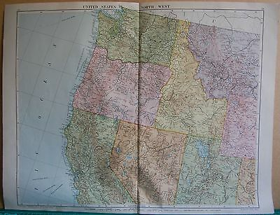1919 Large Map- United States, North West,washington,oregon,idaho,nevada,utah,mo