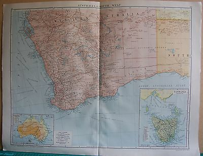 1919 Large Map- Australia, South West, Inset Tasmania