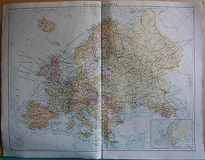 1919 Large Map- Europe, Political, Inset Europe In 1914