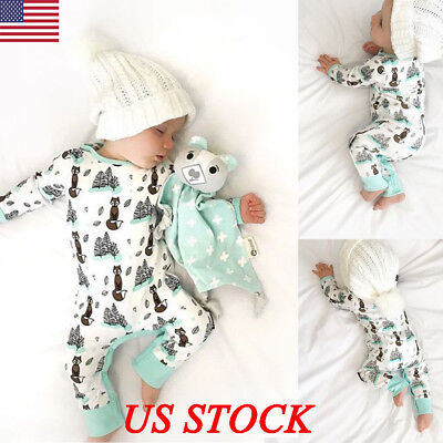 Newborn Baby Boys Girls Outfit Clothes Romper Jumpsuit Animal Print Bodysuits