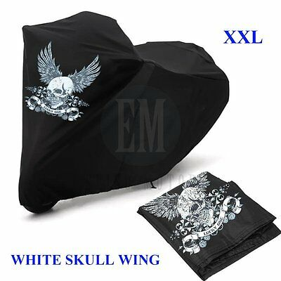 Black XXL Waterproof Motorcycle Cover White Skull for Honda Goldwing 1200 1500