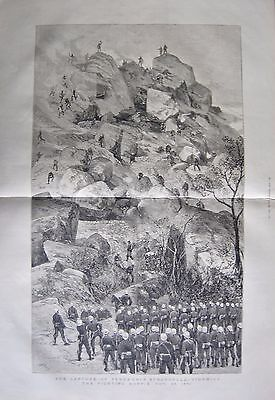 1880 Antique Print - Sekunki's Stronghold-Storming The Fighting Koppie