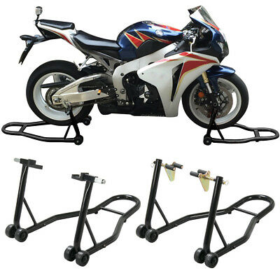 Heavy Duty Adjustable Motorcycle Bike Stand Front & Rear Wheels Paddock Stand