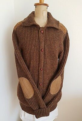 Vintage 100% Wool Cardigan Jumper~Leather Suede Elbow Patches Trim Large