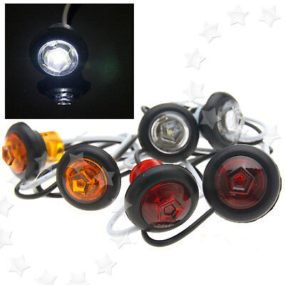 2X 12V Universal White/Amber/Red Small Round LED Button Side Marker Lights Lamps