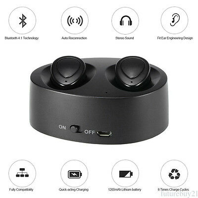 Wireless Bluetooth Headset In-Ear Twins Earbuds Earphone for iPhone Samsung AU