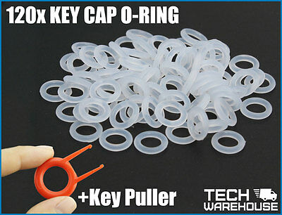 120pcs Keyboard O-Ring Keycap o ring Dampeners + Keycap puller Red or Clear