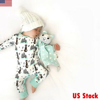 Newborn Infant Baby Girls Boys Fox Printing Romper Bodysuit Jumpsuit Outfits US